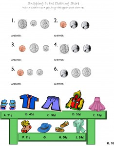 Money Counting Worksheet - Store